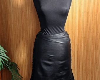 Elements by Vakko below-the-knee leather skirt