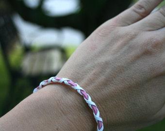"Friendship Bracelet, Woven Bracelet, Leather Braided Bracelet, Pink and White, Adjustable 6"" to 9"