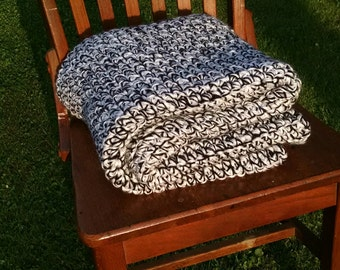Monochrome blanket, heavy, chunky knit crochet blanket