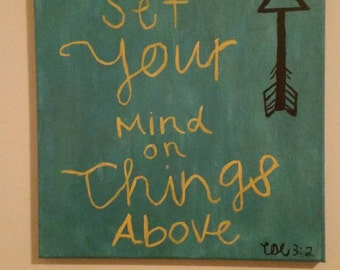 Handpainted Inspirational Bible Verse on Canvas