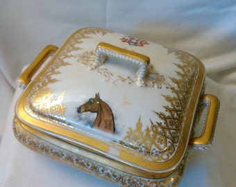 antique Haviland Limoges Jar CFH GDM c.1890s