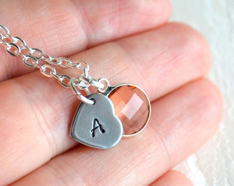 Peach Personalized bridesmaid necklace peach bridesmaid jewelry Pink Bridesmaids heart necklace, Bridesmaids gifts Wedding jewelry
