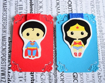 Superman Wonder woman magnetic bookmark