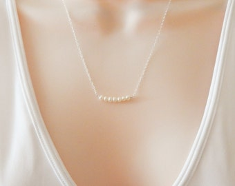 Pearl Necklace - Line Necklace - Simple Pearl Necklace - Pendant Pearls - Sterling Silver Chain - Ivory Pearls - Gift Wrapped - Tiny Pearls