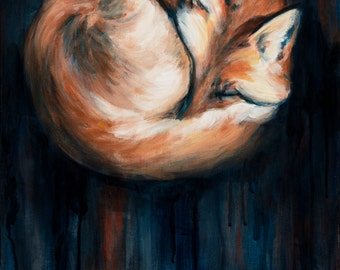 Sleeping Fox, Fox Art Print, Sleeping Fox Art Print,  9x12 giclee print