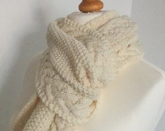 Hand Knitted Scarf, Cable Scarf, Aran Scarf, Cream Scarf, Chunky Scarf, Gift For Her, Christmas Stocking Filler, Women's Scarves, Knitwear