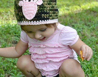 Crochet Baby Girl Camouflage And Soft Pink Deer Hat, Newborn Photography Prop, Toddler Camouflage Beanie, Baby Hunting Hat, Toddler Hunting