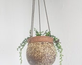 ONE-Speckled-Clay-Boho-Clay Pottery- Hanging Planter-Mid Century Planter- Hippie-Clay Pot- Hanging Pottery(sister planter NOT included)