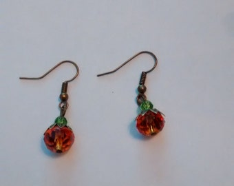 Fall leaves orange pumpkin handcrafted earrings
