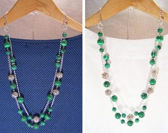 Malachite Necklace, Malachite Beaded Necklace, Malachite Multistrand Necklace, Beaded Necklace, Green Necklace, Long Necklace