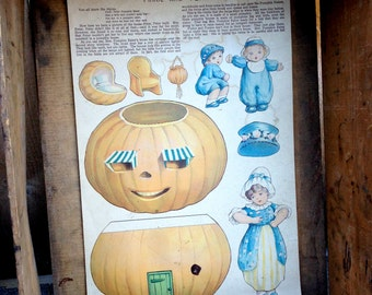 """Antique Jack O Lantern Cut Outs - Rare Early Mcloughlin Brothers Peter Pumpkin Eater 16"""" Game Panel"""