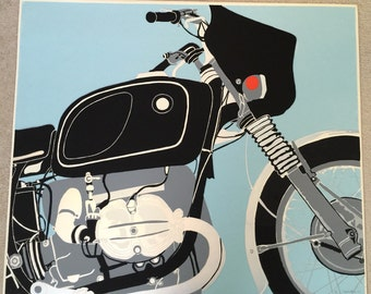Vintage original Motorcycle metallic screen print by Gail Holliday, 1973