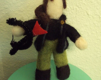 Hunger Games Katniss needle felted figure toy doll