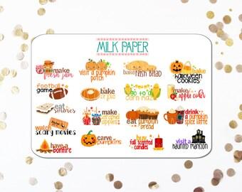 Kawaii Autumn Bucket List Planner Stickers [Set of 17] -- LS01
