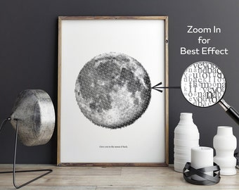 Printable Poster - I love you to the moon & back - Typography Art - Black And White Wall Art - Wedding Gift, Anniversary Gift