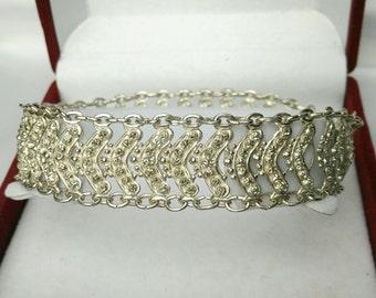 Sterling silver chain bracelet,handmade silver bracelet, link bracelet, vintage bracelet, sterling bracelet, silver bracelet,