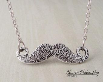 Moustache Necklace - Antique Silver Jewelry - Mustache Charm