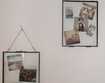 Glass hanging photo display frame