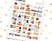 FALL BUCKET LIST - Half Boxes (Printable pdf) Erin Condren - Plum Paper Planner - Filofax - Inkwell Press - Stickers - Autumn - October