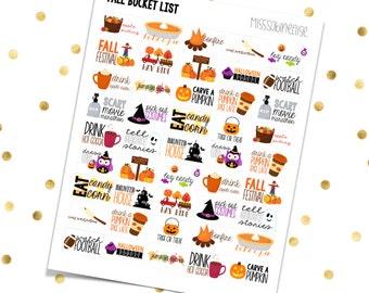 FALL BUCKET LIST // Printable Planner Stickers / Erin Condren Plum Paper Happy Planner Filofax Inkwell Press Autumn Pumpkins Halloween Candy