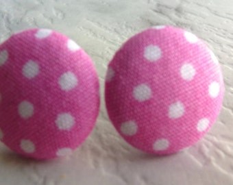 Candy pink and white poka dot fabric stud earrings
