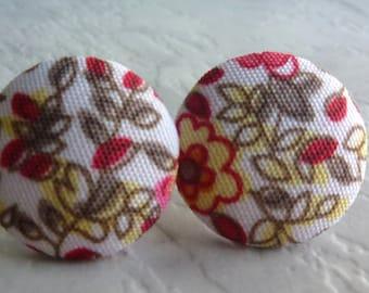 Paisley pink fabric earrings