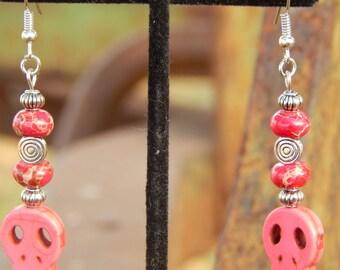 Hot Pink Skull Earrings with Jasper Beads