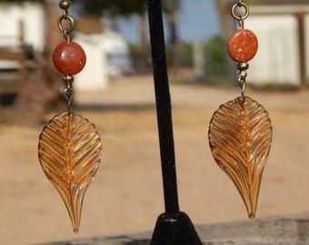 Glass Leaf and Sun Sitara (aka Goldstone) Earrings