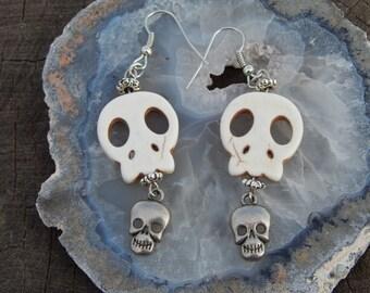 White Howlite Skulls Earrings with Silver Skull Charms