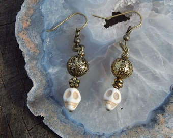 Skull Earrings with Antique Gold Beads