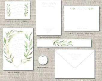 Custom Letterpress Wedding invitations suite invites - Rustic Romance - custom options