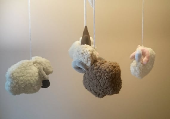 Items similar to baby mobile baby mobile little sheep for Unusual baby mobiles