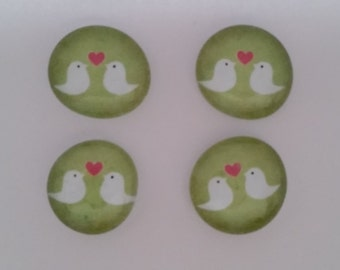 Bird glass magnets (set of 4)