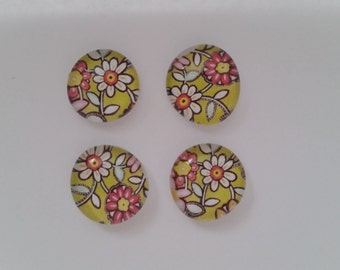 Green Floral Print Magnet Set (Set of 4)
