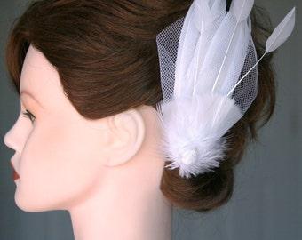 Bridal Veil Feather Fascinator Hair Clip