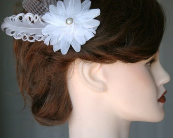 White Feather Flower with Pearl Center & Veil Petals