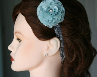 Hair Flower on Black Lace Banding / Silver Diamond Center Accent / Cool Vintage Gray Blue