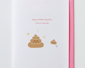Amazing Poop Birthday Card - Happy Birthday, Greeting Card, Funny, Unique