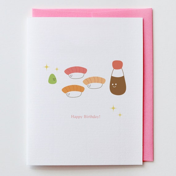 Wasabi Birthday Card Japanese Kawaii Cute Happy Birthday – Japanese Birthday Cards