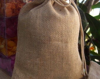 "Burlap Bags, 12 Bags,  8""x10""  Drawsting, Rustic Wedding Favor Bags"