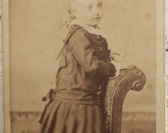 Antique CDV Carte de Visite photograph toddler Nellie stands on chair by J.W. Schmidt of Kentucky