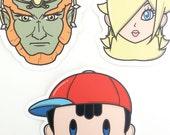 Super Smash Brothers Stickers - Rosalina, Ness, Ganondorf