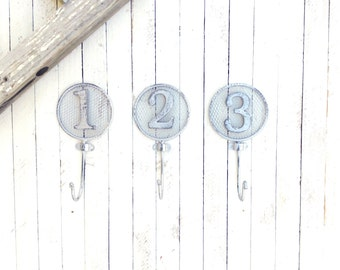 Iron Numbered Hooks, Home Decor, For The Home, Nursery Room, School Decor, Key Holder, Customize