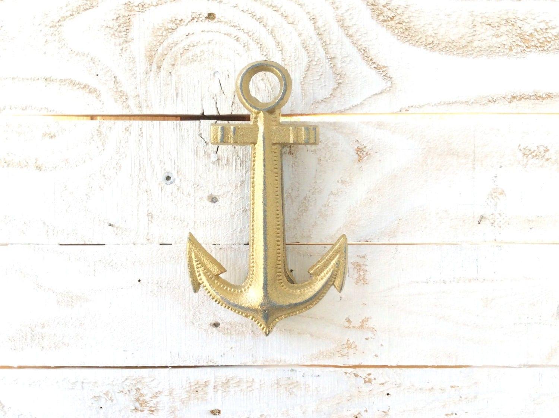 Iron anchor door knocker home decor for the home beach for Anchor door decoration