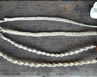 Simple natural hemp bracelet, loop and wood bead clasp. Spiral or flat hemp bracelet. Minimal Bracelets, Men and Women, 3 for price of 2.