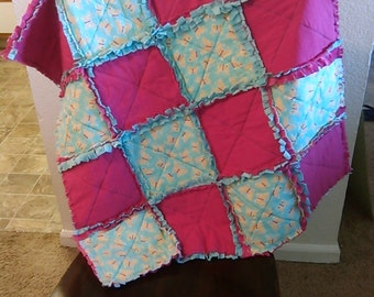 Handmade Baby girl rag quilt. Pink/turquoise. Butterfly/minky.