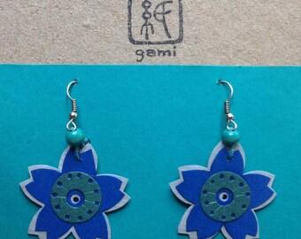 "Kirigami Sakura Earrings Greenlue M 1-1/2"" or 3.5cm diameter"