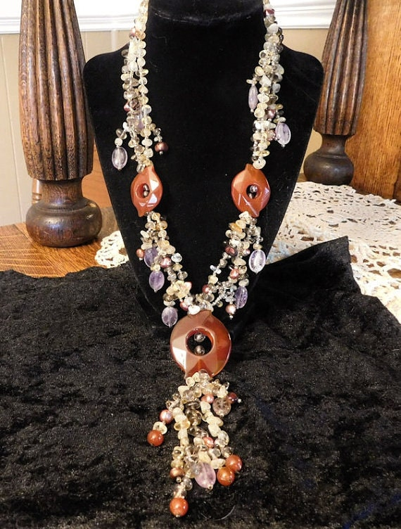 BOHO Carnelian Necklace Agate Medallions Baroque Dyed Keshi Pearls Pink Amethyst Citrine Smoky Crystal Quartz Boho Chic Gypsy Bohemian Style