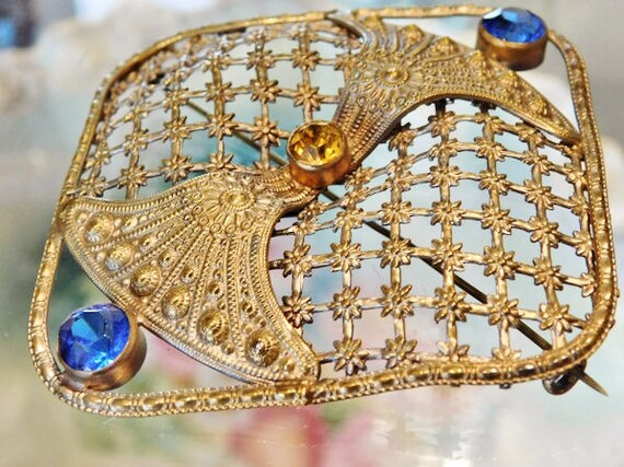 1900s Czech Brooch Brass Intricate Filigree Glass Rhinestones Antique Arts & Crafts Victorian Edwardian Large Brooch Cobalt Topaz Rhinestone