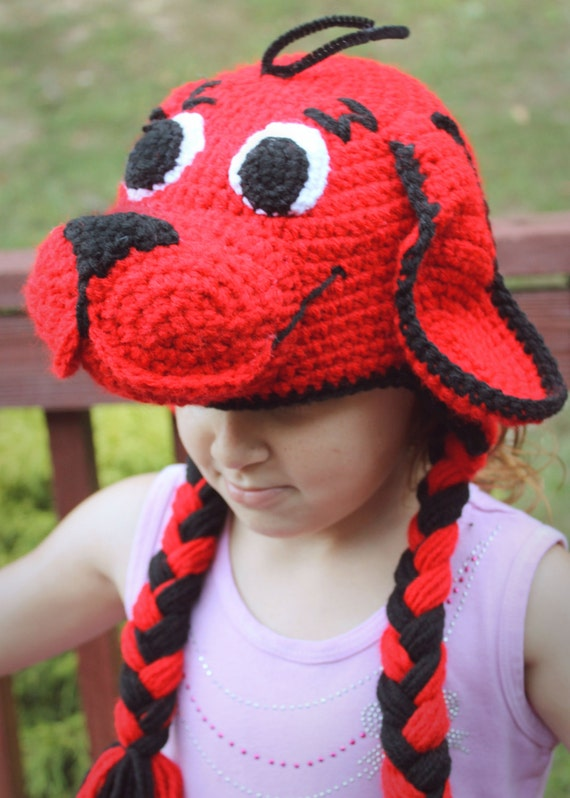 Clifford the Big Red Dog Costume Crochet Earflap Hat for